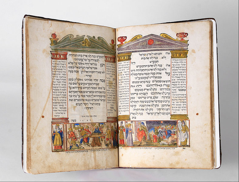 An illuminated Haggadah similar to the one depicted was discovered in the UK. In dates to the 18th century and could fetch six figures at auction. Credit: Wikimedia Commons.