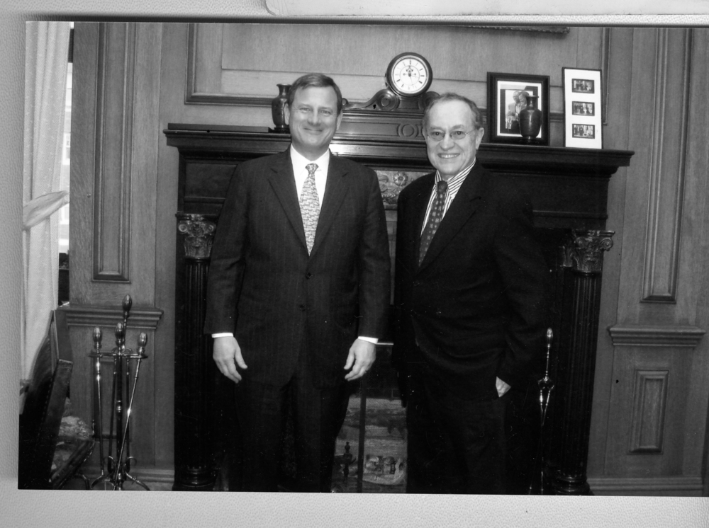 Click photo to download. Caption: Alan Dershowitz with Chief Justice John Roberts. Credit: Courtesy Alan Dershowitz.