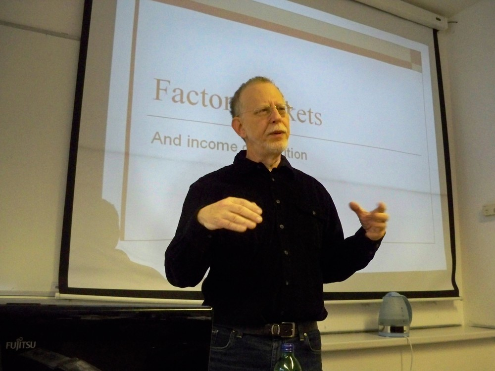 "Click photo to download. Caption: Steven Plaut, Professor of Economics at the University of Haifa, gives a lecture at Central European University in November 2011. The recently published World Bank report entitled ""Area C and the Future of the Palestinian Economy"" demonstrates that the World Bank ""doesn't fully understand the Israeli economy or the Palestinian economy,"" Plaut tells JNS.org. Credit: Nataev via Wikimedia Commons."