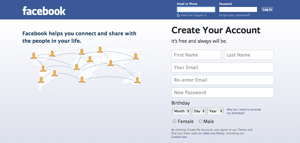 The Facebook homepage. Credit: Screen shot.