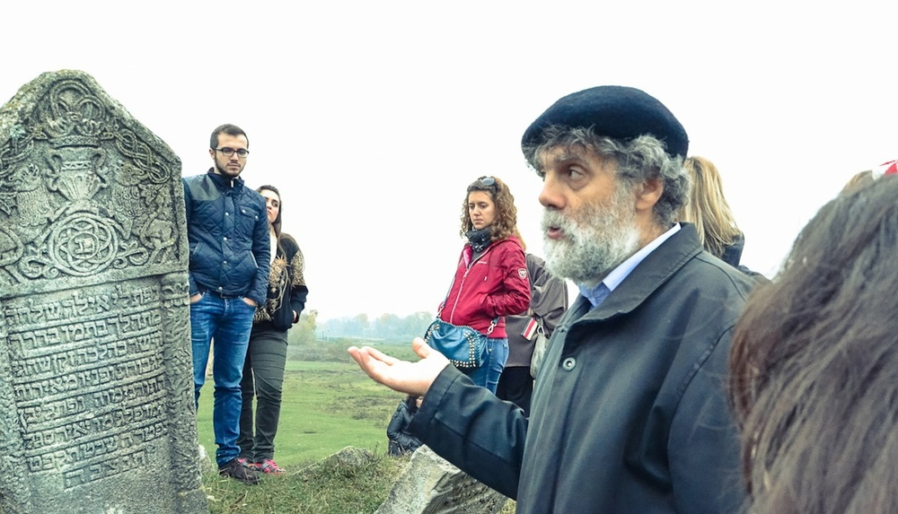 Click photo to download. Caption: Participants in the 4th Annual Jewish Informal Education Conference in  Lvov tour a Jewish cemetery. Credit: Courtesy of JDC.