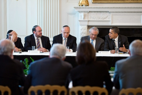 Click photo to download. Caption: President Barack Obama meets American<br /><br /> Jewish leaders in the White House in March 2011. Last week, in their latest<br /><br /> meeting with the White House, Jewish leaders were reportedly asked not to<br /><br /> push for strengthened Iran sanctions while negotiations over the Iran<br /><br /> nuclear program persist. Credit: White House.