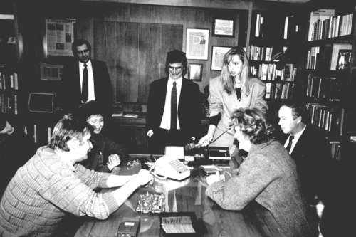 Click photo to download. Caption: As part of a 1988 initiative to free<br />Soviet Jewry, newly appointed Hillel International Director Richard M. Joel<br />(left) and Associate International Director Rabbi William Rudolph (center)<br />facilitate a call between former refuseniks and their families in the<br />Soviet Union. Credit: Hillel: The Foundation for Jewish Campus Life.