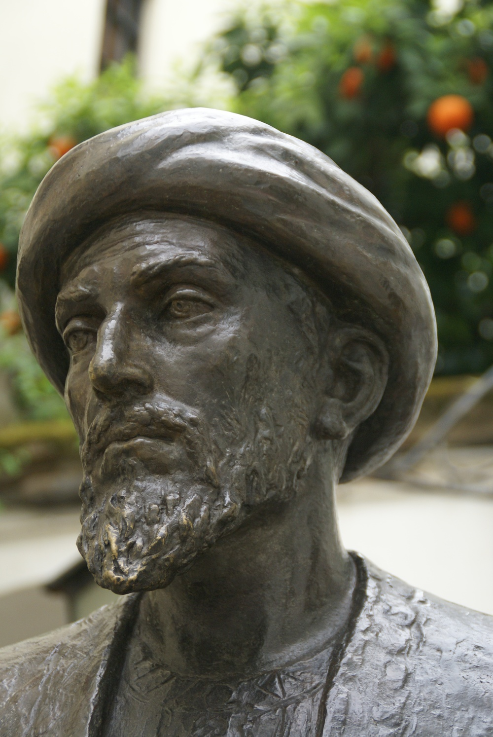 Click photo to download. Caption: A bronze statue of Maimonides in Cordoba, Spain. Credit: David Baron via Wikimedia Commons.