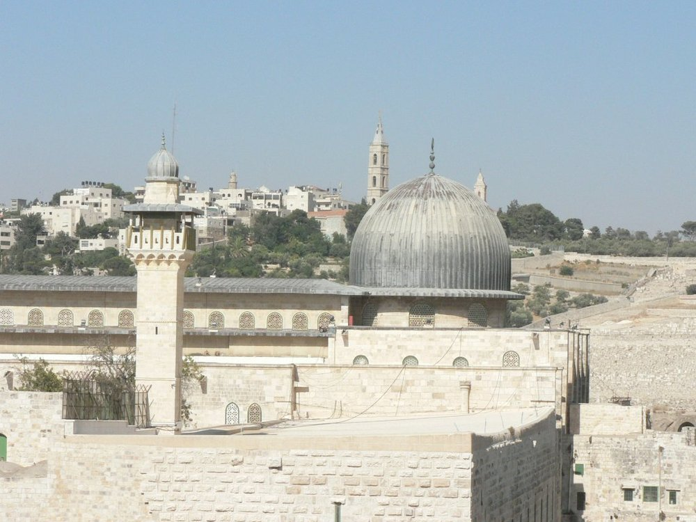 "The Al-Aqsa mosque. Sheikh Raed Salah in a 2007 speech calling on every Muslim to ""start the Arab Islamist intifada, from ocean to ocean, to support the holy city of Jerusalem and the blessed Al-Aqsa mosque."" Credit: MathKnight via Wikimedia Commons."