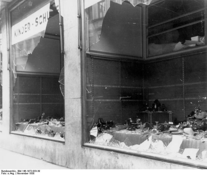 A Jewish shop destroyed on Kristallnacht. Credit: German Federal Archive via Wikimedia Commons.