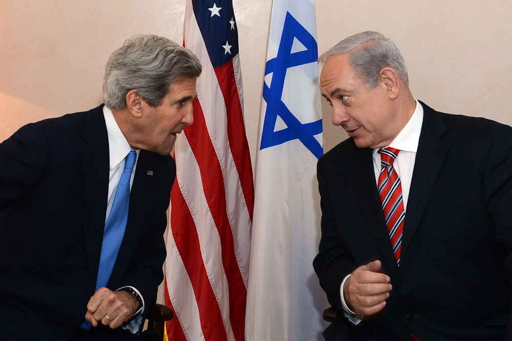 Secretary of State John Kerry meets with Prime Minister Benjamin Netanyahu at the David Citadel Hotel in Jerusalem on April 9, 2013. Credit: Matty Ster/U.S. Embassy Tel Aviv.