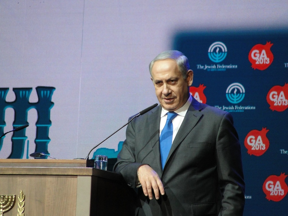 Click photo to download. Caption: Prime Minister Benjamin Netanyahu speaks at the 2013 Jewish Federations of North America General Assembly in Jerusalem. Credit: Judy Lash Balint.