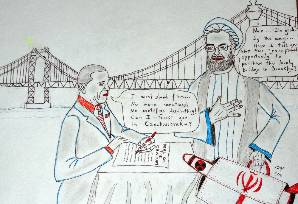 """Bizarre Bazaar,"" a political cartoon on negotiations with Iran by Nathan Moskowitz."