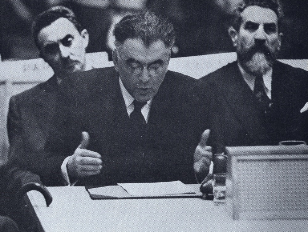 Click photo to download. Caption: Abba Hillel Silver addressing the United Nations in 1947. Behind him, left to right, are Jewish Agency official (and future Israeli prime minister) Moshe Sharett and Mizrachi leader Rabbi Wolf Gold. Credit: Courtesy of The David S. Wyman Institute for Holocaust Studies.
