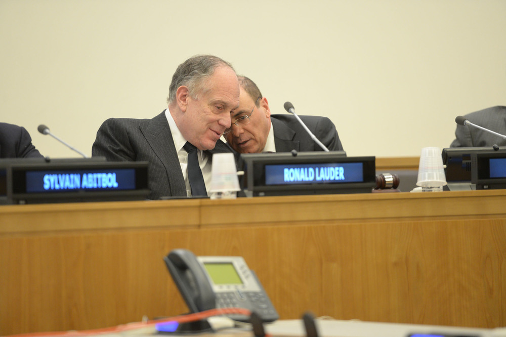 Click photo to download. Caption: Ronald S. Lauder (left), President of the World Jewish Congress, and Sivan Shalom, Israeli Minister of National Infrastructure, Energy and Water, and Minister of Regional Cooperation, at a Nov. 21 conference at the U.N. on the plight of Jewish refugees from Arab countries. Credit: World Jewish Congress.