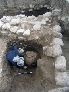 A typical jar of the Early Bronze Age was discovered buried beneath the floor of a building. Photograph: Dr. Ron Be'eri, courtesy of the Israel Antiquities Authority
