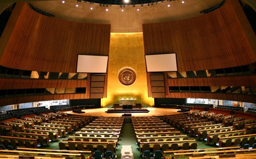 The U.N. General Assembly Hall. Credit: Patrick Gruban via Wikimedia<br />Commons.