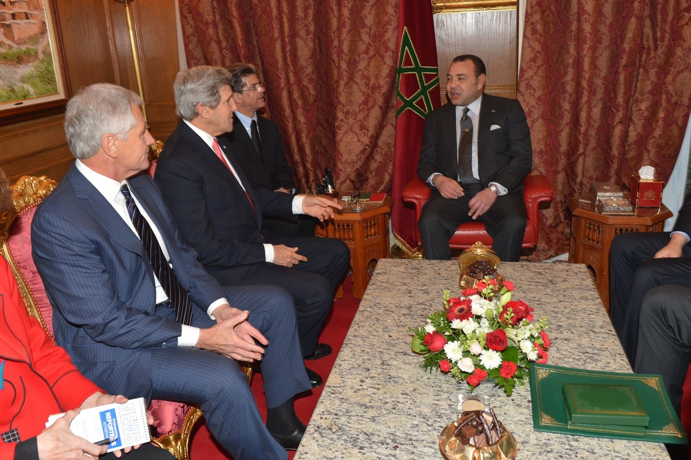 Click photo to download. Caption: U.S. Secretary of State John Kerry and U.S. Secretary of Defense Chuck Hagel meet with King Mohammed VI of Morocco at the Moroccan Ambassador to the United States' residence in Washington, D.C., on November 20, 2013. Credit: U.S. Department of State.