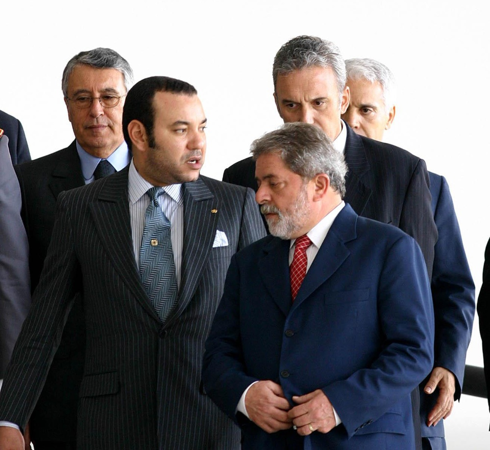 Click photo to download. Caption: King Mohammed VI of Morocco (left) with Luiz Inacio Lula da Silva, the former president of Brazil, in November 2004. Credit: U. Dettmar/ABr.
