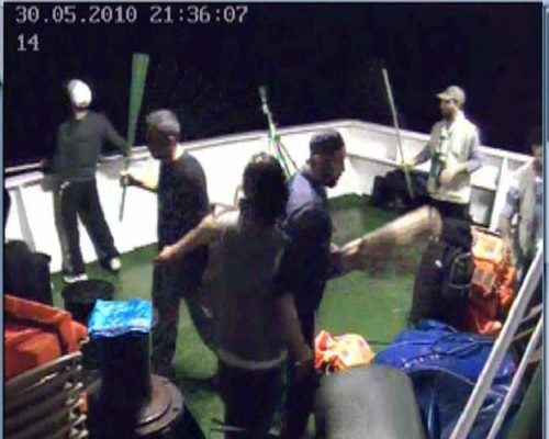 Footage taken from the Mavi Marmara flotilla to Gaza in 2010 shows the<br />militants preparing to attack IDF soldiers. Credit: IDF.