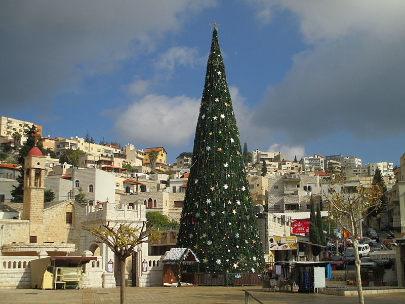 Christmas in Nazareth, Israel. Credit: Wikimedia Commons.