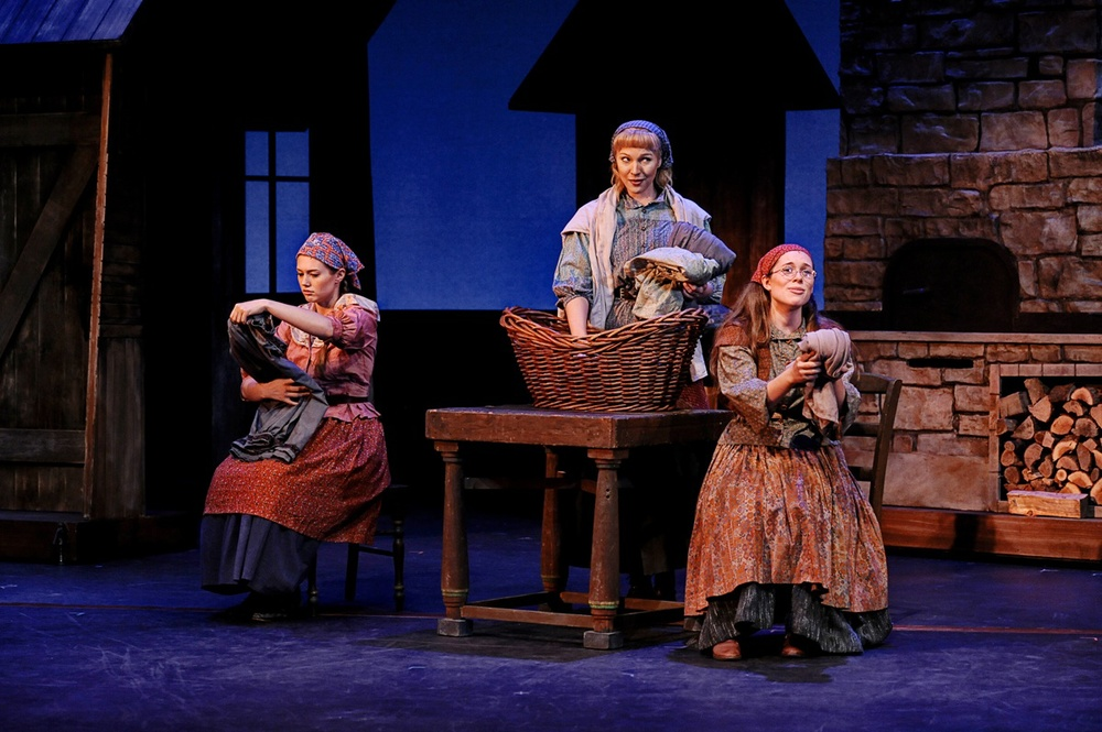 "Click photo to download. Caption: Krysta Michelle Smith as Hodel, Karin Hendricks as Tzeitel, and Jessica Chanliau as Chava in the Pacific Conservatory of the Performing Arts summer 2013 production of ""Fiddler on the Roof."" Credit: Luis Escobar."