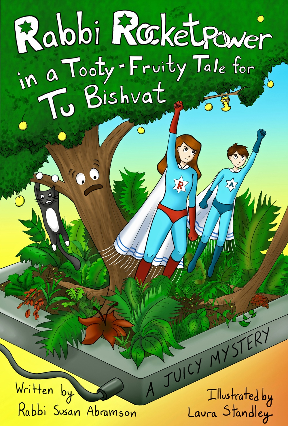 "Click photo to download. Caption: The cover of ""Rabbi Rocketpower in a Tooty Fruity Tale for Tu Bishvat – A Juicy Mystery"". Credit: Rabbi Rocketpower."