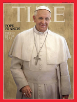 """The Time magazine cover of featuring Pope Francis as""""Person of the Year."""" Credit: Screenshot."""