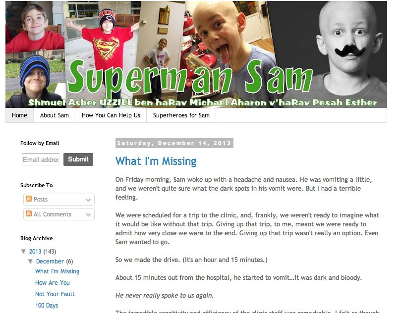 The funeral for 8-year-old Sam Sommer, who was the subject of a blog written by his parents, was held Monday. Credit: screenshot of the Superman Sam blog.