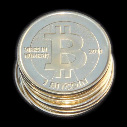 Bitcoins. Credit: Wikimedia Commons.