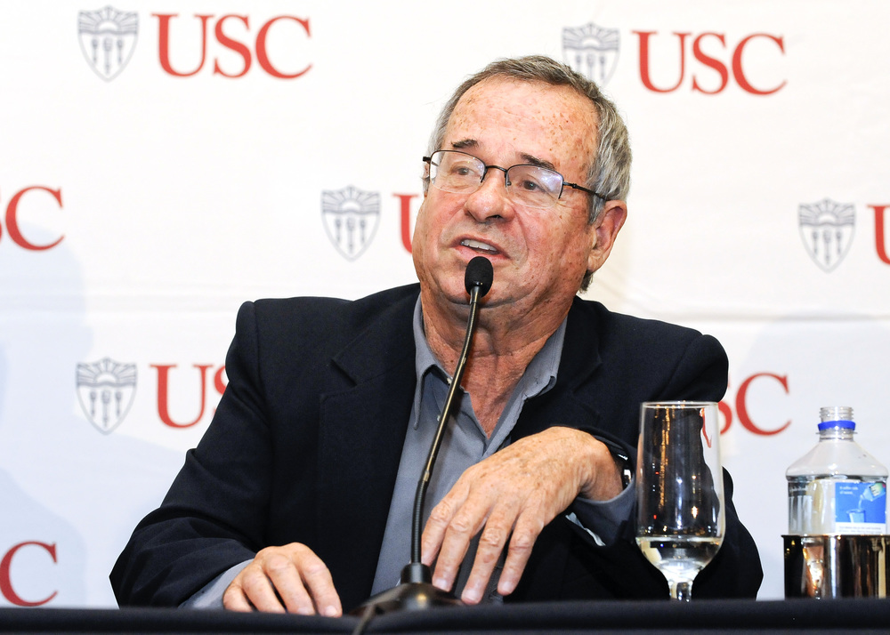 Click photo to download. Caption: University of Southern California professor Arieh Warshel at an Oct. 9 press conference for his Nobel Prize in chemistry. Credit: USC Photo/Gus Ruelas.