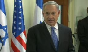 Prime Minister Benjamin Netanyahu speaks in Jerusalem on Thursday. Credit: Israel Hayom video screenshot.