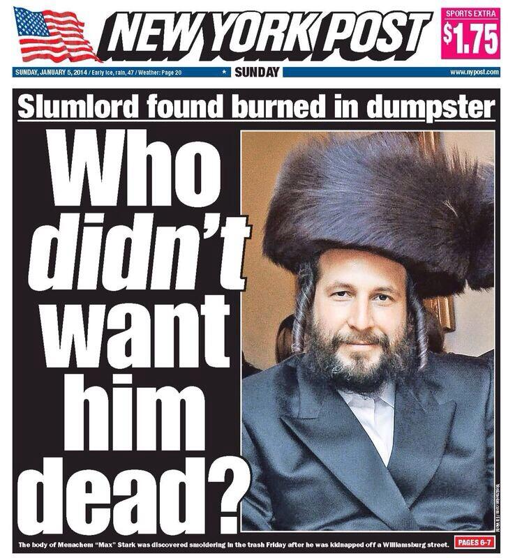The controversial New York Post cover on the murder of Menachem Stark. Credit: Twitter.