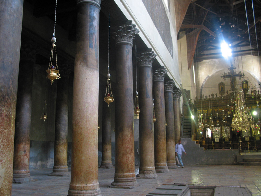 Inside the Church of the Nativity in Bethlehem. Credit: Wikimedia Commons.
