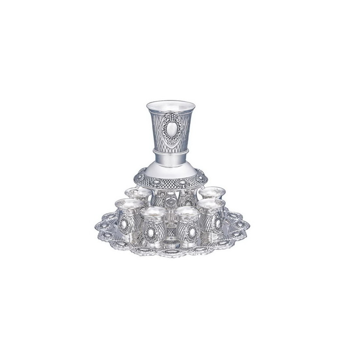 Click photo to download. Caption: A Kiddush cup fountain, pictured, can be a creative Jewish wedding gift. Credit: World of Judaica.