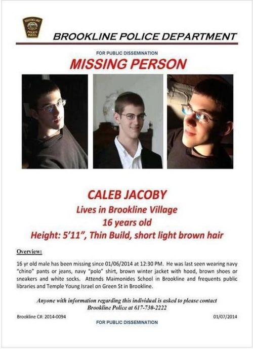 The missing persons flier for Caleb Jacoby, 16, which is being distributed<br />by volunteers. Credit: Brookline Police.