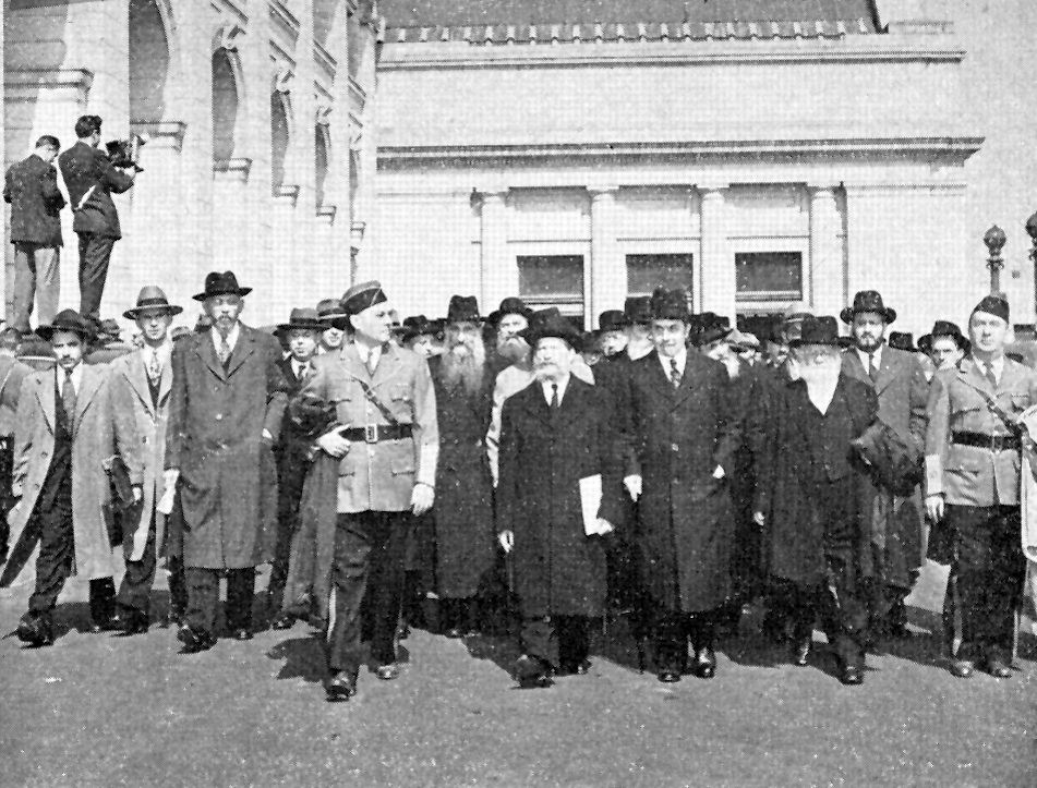 Click photo to download. Caption: The beginning of the October 1943 march by more than 400 rabbis in Washington, DC,  three days before Yom Kippur. Credit: Courtesy The David S. Wyman Institute for Holocaust Studies.