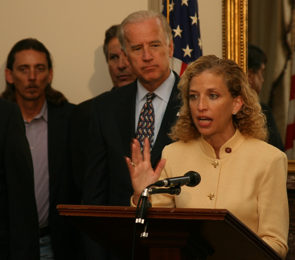 Click photo to download. Caption: Florida Congresswoman Debbie Wasserman Schultz (right) speaks in 2008, with Joe Biden in the background. Credit: Rep. Debbie Wasserman Schultz.