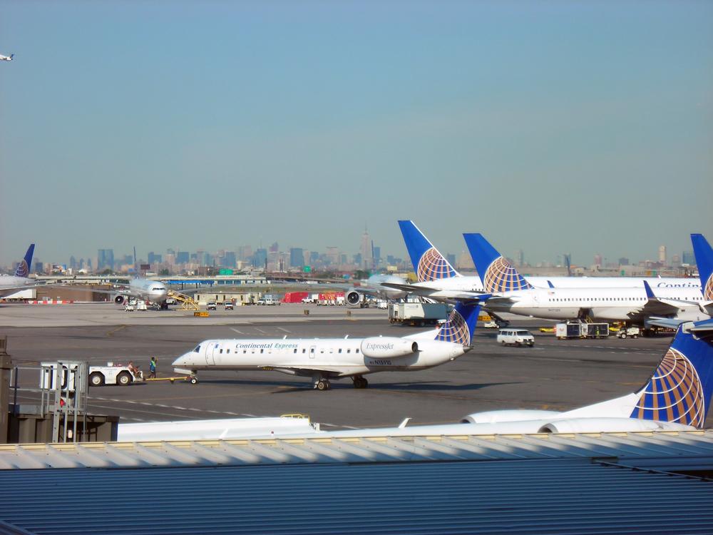 Planes at Newark Liberty International Airport. Credit: Nikon via Wikimedia Commons.