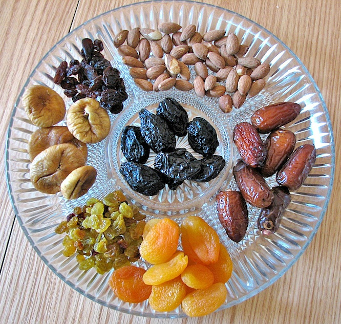 Caption: Dried fruit and nuts, traditionally eaten on Tu B'Shevat. Credit: Gilabrand via Wikimedia Commons.