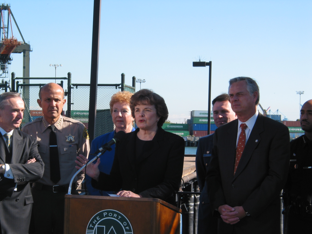 "Click photo to download. Caption: U.S. Sen. Dianne Feinstein (D-CA) speaks at the Long Beach Port in California in 2010. Feinstein said regarding new Iran sanctions legislation,  ""We cannot let Israel determine when and where the United States goes to war."" Credit: Office of Dianne Feinstein."