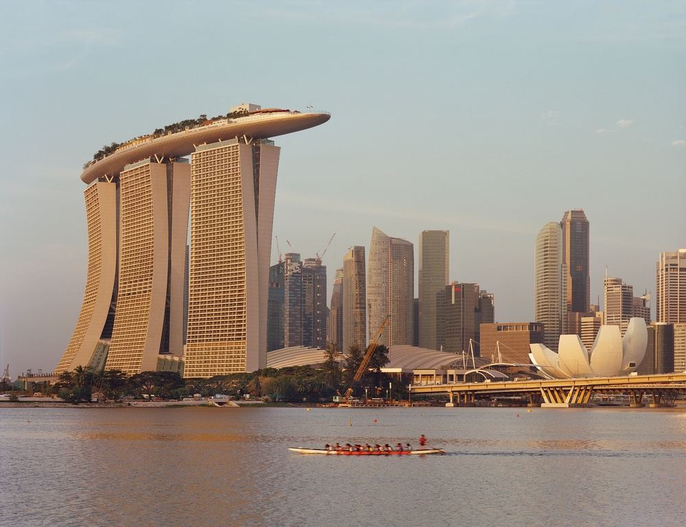 Click photo to download. Caption: The Marina Bay Sands resort in Singapore, designed by Moshe Safdie. Credit: Timothy Hursley.