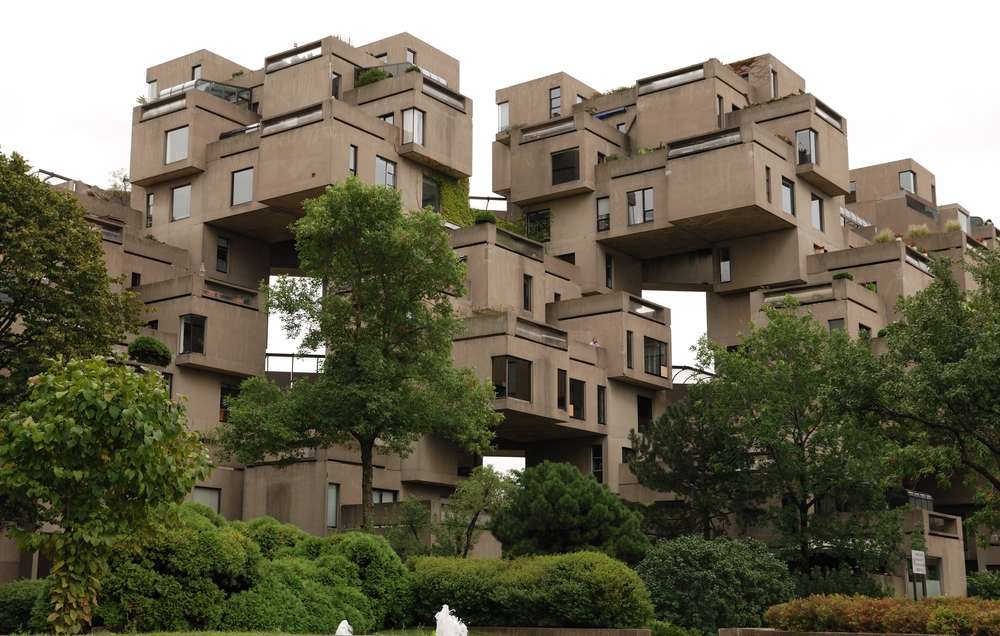 "Click photo to download. Caption: ""Habitat,"" the residential community of stacked, prefabricated, concrete designed by Moshe Safdie for Montreal's Expo '67. Credit: Wladyslaw via Wikimedia Commons."
