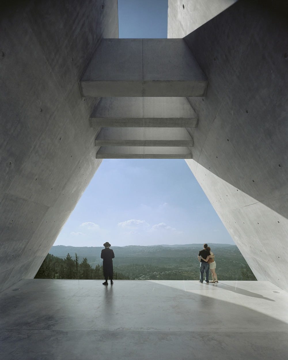 Click photo to download. Caption: The view at the end of the prism of Jerusalem's Yad Vashem Holocaust History Museum, designed by Moshe Safdie. Credit: Timothy Hursley.