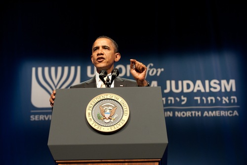 President Barack Obama speaks at the Union for Reform Judaism's December<br />2011 convention. Credit: Union for Reform Judaism.