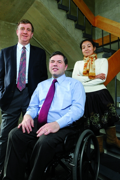 Click photo to download. Caption: Pictured in center is Dr. Michael Ashley Stein, winner of the inaugural $100,000 Morton E. Ruderman Award in Inclusion. On the left is William P. Alford, who co-founded the Harvard Law School Project on Disability (HPOD) with Stein and is currently the project's chair. On the right is Fenming Cui, director of the China Program at HPOD. Credit: Aynsley Floyd.