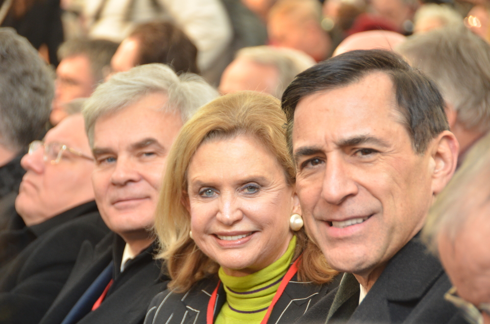 Click photo to download. Caption: Pictured in the crowd at the International Holocaust Remembrance Day ceremony at Auschwitz are U.S. Rep. Carolyn Maloney (D-NY, in center) and U.S. Rep. Darrell Issa (R-CA, on the right). Credit: Maxine Dovere.