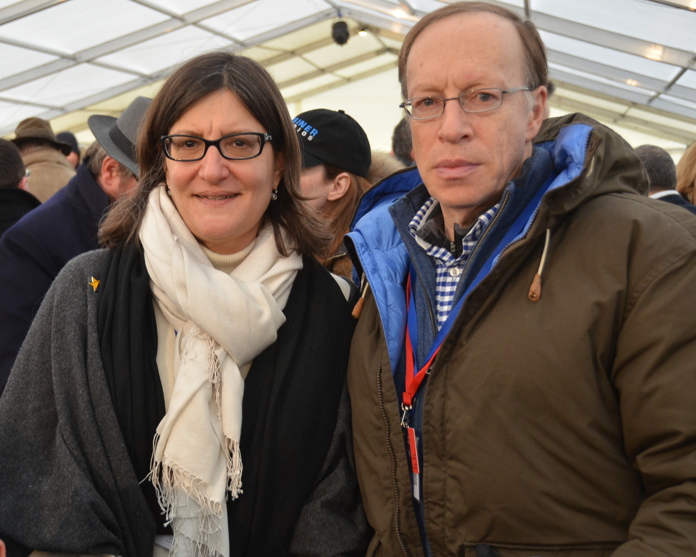 "Click photo to download. Caption: Israeli-born New York resident Elie Hirschfeld and his wife Dr. Sarah Hirschfeld, pictured, were among those who attended the Jan. 27 International Holocaust Remembrance Day commemorations at Auschwitz. ""Those of our generation knew the survivors. To us, they are real. We are here to connect the past with the future,"" said Elie Hirschfeld. Credit: Maxine Dovere."