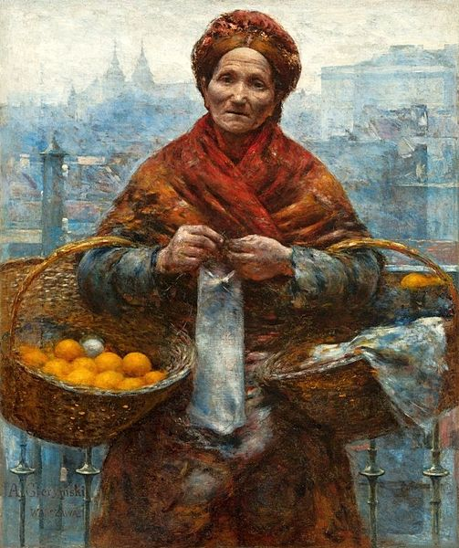 Jewish woman selling oranges by Aleksander Gierymski 1880-1881.  The painting was looted by the Germans from the National Museum in Warsaw during World War II. Credit: Wikimedia Commons.