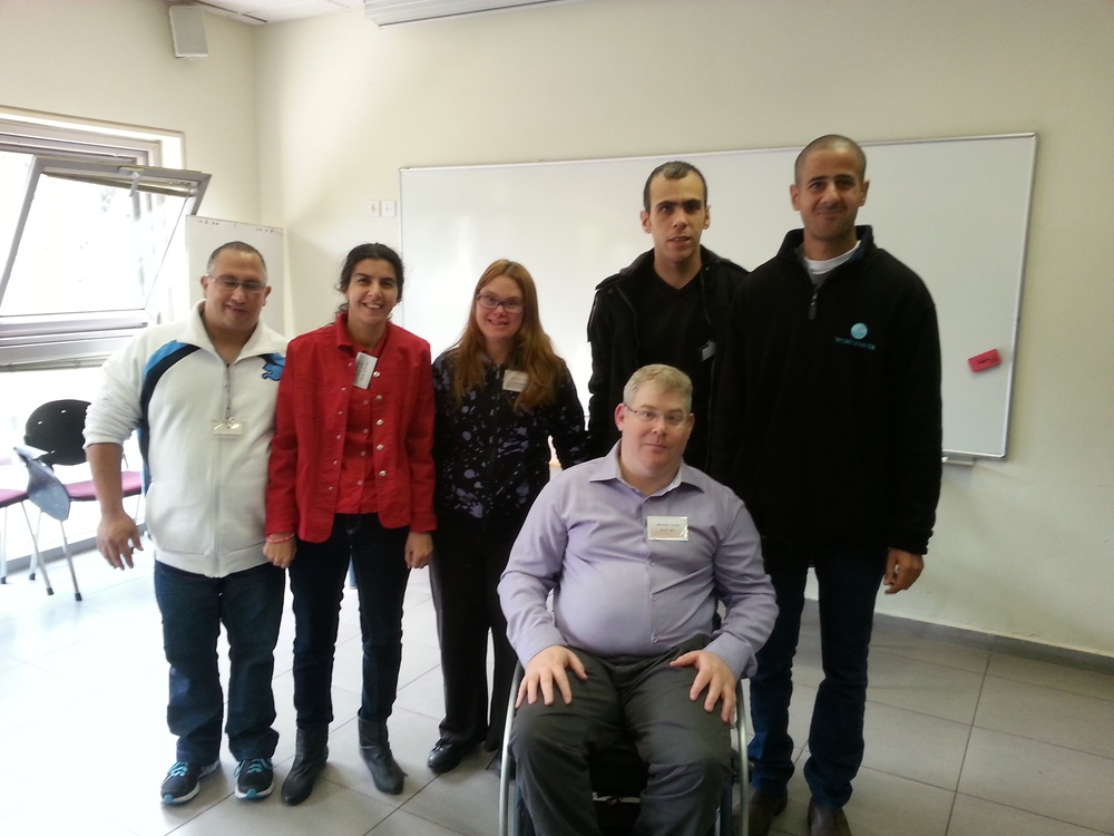 Click photo to download. Caption: Standing from left to right, at the 2nd annual Israel Self-Advocacy Conference in Jerusalem, are Asaf Buzaglo, Avital Ohayun, Simona Idan, Shai Asuline, and Dudu Cheftzadi. Sitting is Yoav Kreim,  a well-known leader and spokesperson for people with disabilities in Israel for more than 20 years. Credit: Courtesy of the Ruderman Family Foundation.