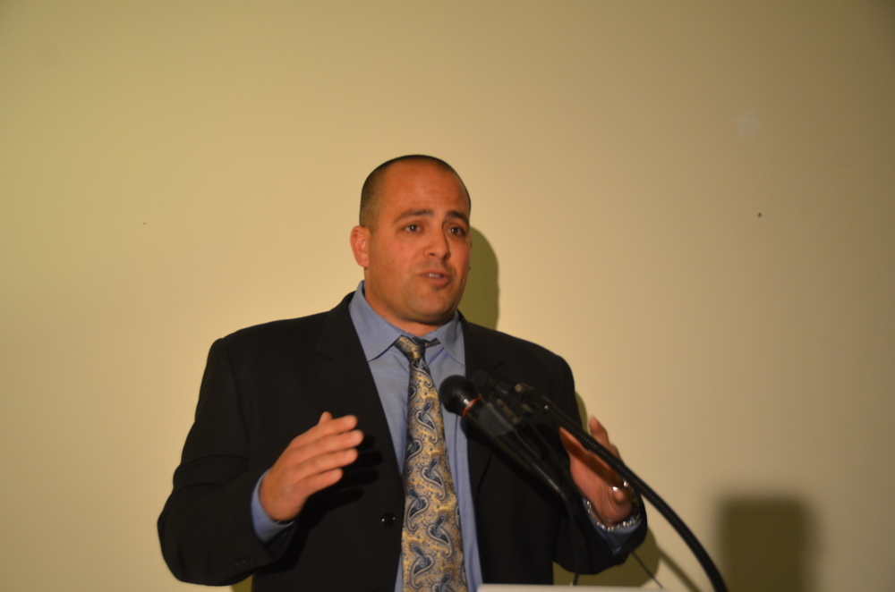 Click photo to download. Caption: Yonah Mishaan, who has coached Israel's men's and women's flag football teams and will lead the Israeli national team for the 2016 European Federation of American Football, is pictured speaking at a Jan. 29 event in New York City that highlighted the growth of football in Israel ahead of the 2014 Super Bowl. Credit: Maxine Dovere.