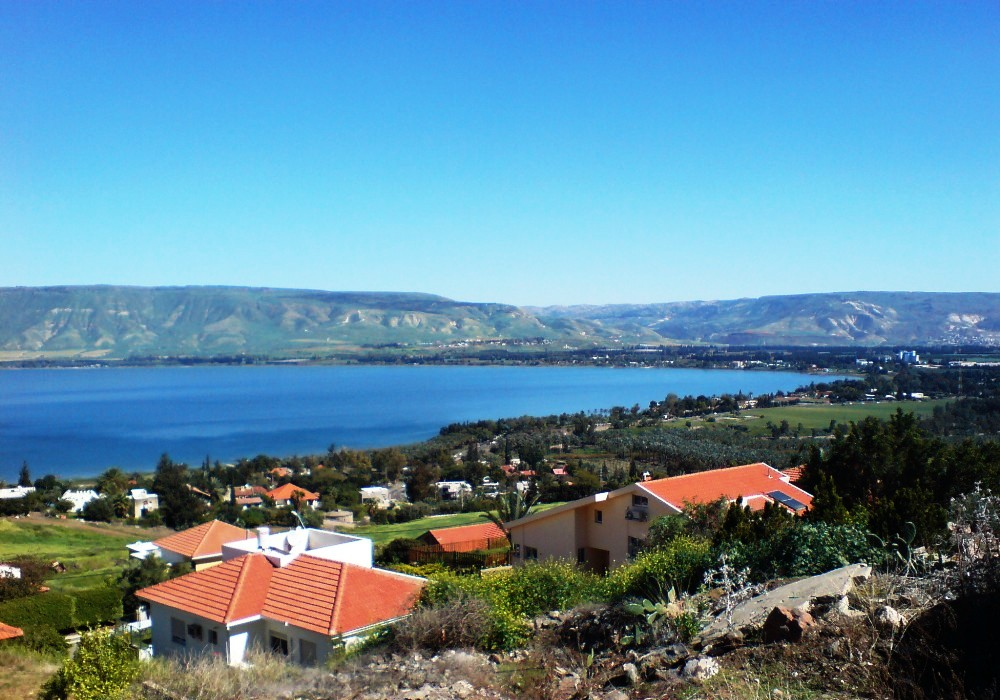 The Sea of Galilee as seen from the Moshava Kinneret community. Credit: Wikimedia Commons.