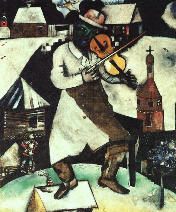 "Click photo to download. Caption: Marc Chagall's ""The Fiddler."" The new George Clooney film, ""The Monuments Men,"" tells the story of U.S. military personnel who during World War II risked their lives to rescue paintings by the likes of Rembrandt, Picasso, and Chagall that the Nazis had stolen. Credit: Yid613 via Wikimedia Commons."