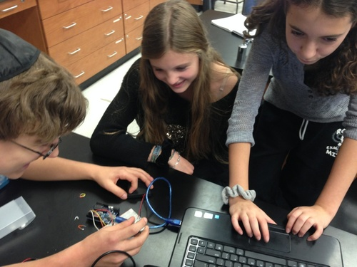 Click photo to download. Caption: Students at Solomon Schechter High School<br />in Williston Park, NY, successfully complete an H-Bridge Circuit as part of<br />the hands on, problem-solving course called the CIJE-Tech High School<br />Engineering Program. The CIJE non-profit has established CIJE-Tech Courses<br />in 27 schools and is expanding due to high demand from students and<br />parents. Credit: Provided photo.